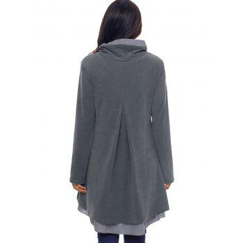 Cowl Neck High Low Tiered Tunic Top - GRAY L