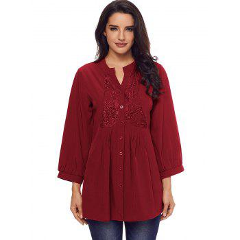 Lace Panel Split Neck Pintuck Tunic Blouse - WINE RED S