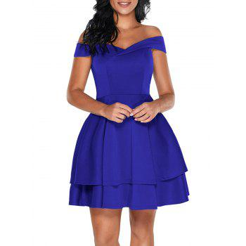 Off The Shoulder Layered Mini Dress - BLUE S