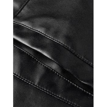 Casual Faux Leather Jacket with Zip Ornament - BLACK L