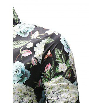 Bright Florals and Leaves Printed Shirt - COLORMIX 3XL