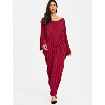 Batwing Sleeve Ruched Long Caftan Dress - WINE RED M