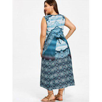 Plus Size Bandana Floral Self Tie Sleeveless Dress - BLUE GREEN 5XL