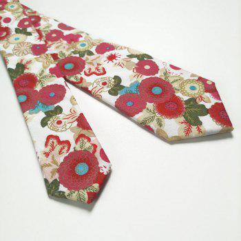 Floral Pattern Floral Silky Cravate Mouchoir Set - Rouge