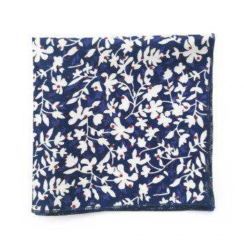 Simple Flowers Pattern Embellished Necktie Handkerchief Set - BLUE