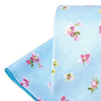 Vintage Floral Printed Silky Necktie and Handkerchief - BLUE