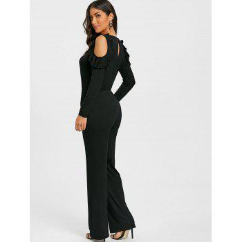 Wide Leg Cold Shoulder Jumpsuit - BLACK S