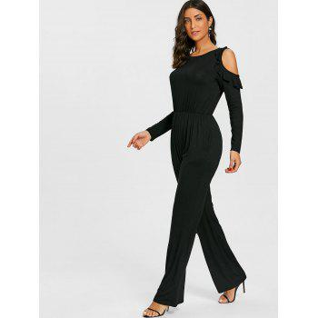 Wide Leg Cold Shoulder Jumpsuit - BLACK M