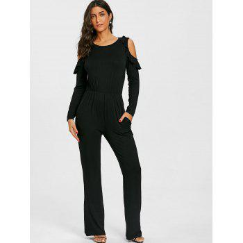 Wide Leg Cold Shoulder Jumpsuit - BLACK XL