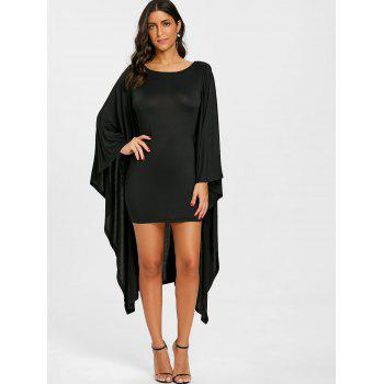 Cape Batwing Sleeve Bodycon Dress - BLACK L