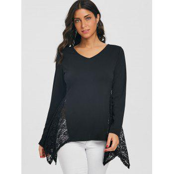 Asymmetric V Neck Lace Panel Tunic T-shirt - BLACK S