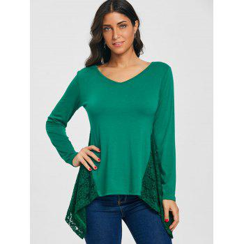 Asymmetric V Neck Lace Panel Tunic T-shirt - BLACKISH GREEN XL
