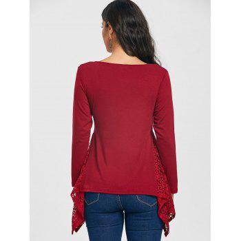 Asymmetric V Neck Lace Panel Tunic T-shirt - WINE RED S