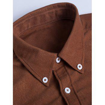 Turndown Collar Pocket Corduroy Shirt - KHAKI XL