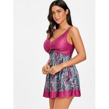 Twist Front Empire Waist Skirted Print Tankini - COLORMIX XL