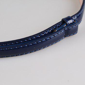 Simple Metal Round Buckle Embellished Skinny Belt - BLUE