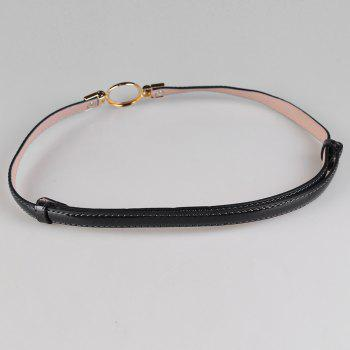 Simple Metal Round Buckle Embellished Skinny Belt - BLACK