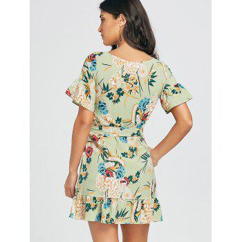Floral Print Belted Dress - GREEN M