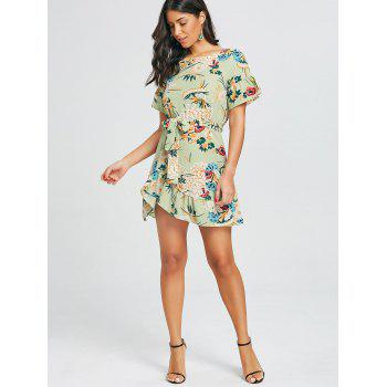 Floral Print Belted Dress - GREEN XL