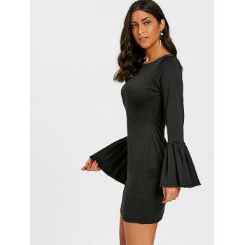 Flare Sleeve Mini Dress - BLACK L