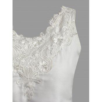 Floral Applique Handkerchief Hem Top - WHITE L