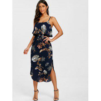Floral Print Slip Slit Dress - PURPLISH BLUE M