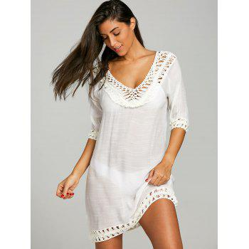 See Through Crochet Insert Cover Up Dress - WHITE ONE SIZE