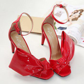 Stiletto Heel Bowknot Sandals - RED 36
