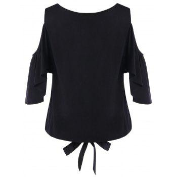 Leaf Embroidery Cold Shoulder Blouse - BLACK L