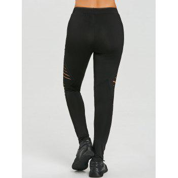 Ripped High Waist Workout Leggings - BLACK L