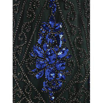 Fringed Sequins Midi Sparkly Dress - BLACKISH GREEN S