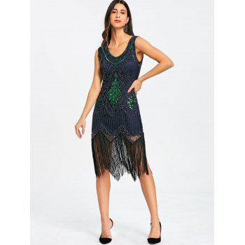 Fringed Sequins Midi Sparkly Dress - PURPLISH BLUE S