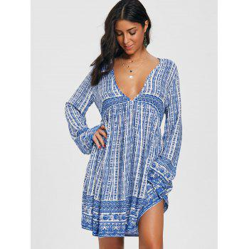 Plunging Neck Print Tunic Dress - BLUE L