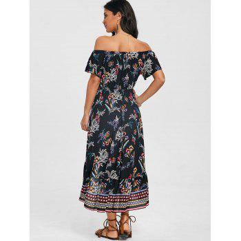 Print Off Shoulder Dip Hem Dress - BLACK XL