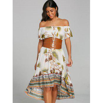 Print Off Shoulder Dip Hem Dress - GREEN L