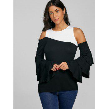 Color Block Bell Sleeve Tee - BLACK M