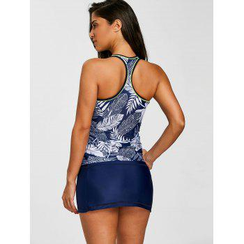 Skirted Print Racerback Three Piece Tankini - BLUE M