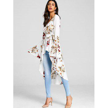 Asymmetrical Floral Print Surplice Blouse - WHITE 2XL