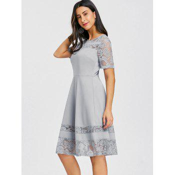 Lace Insert A Line Party Dress - GRAY XL