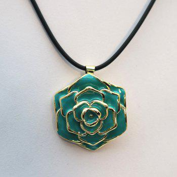 Valentine's Day Enamel Rose Flower Pendant Necklace - GREEN