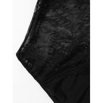 One Piece Lace Panel High Cut Swimwear - BLACK L