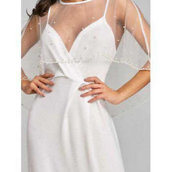 Mesh Insert Long Formal Dress - WHITE XL