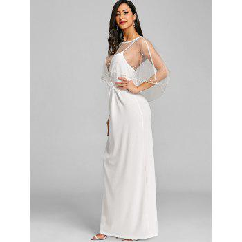 Mesh Insert Long Formal Dress - WHITE 2XL