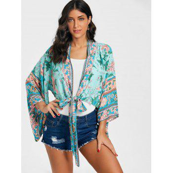 Floral Print Bell Sleeve Kimono - GREEN S