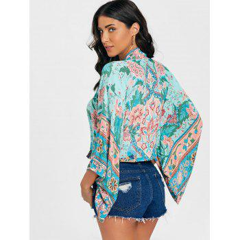 Floral Print Bell Sleeve Kimono - GREEN L