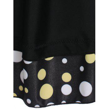 Skirted Plunge Polka Dot Tankini Swimsuit - BLACK L
