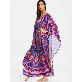 Butterfly Sleeve Tribal Print Long Cover Up - COLORMIX M