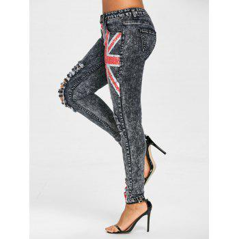 Union Flag Ripped Jeans - COLORMIX XL
