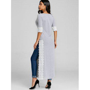 Lace Panel High Split Long T-shirt - GRAY M
