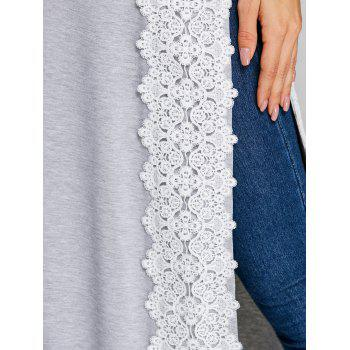 Lace Panel High Split Long T-shirt - GRAY L
